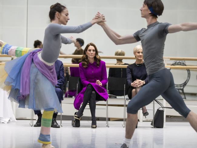 Kate watches Royal Ballet Principal Dancers during rehearsals for the romantic ballet The Two Pigeons.