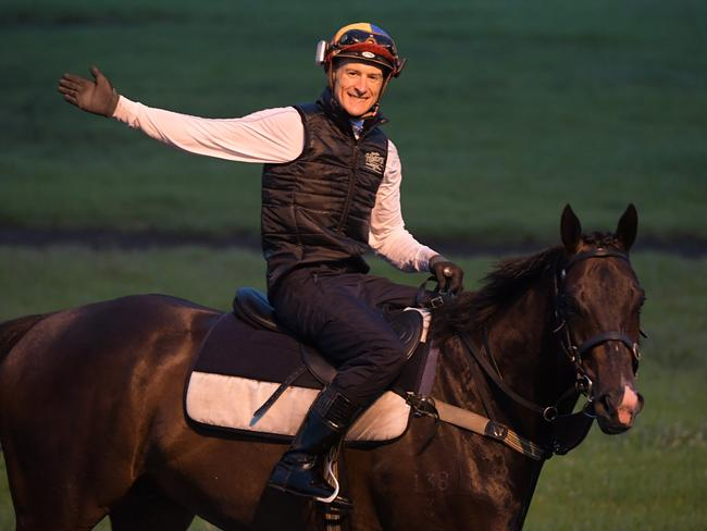 Jockey Blake Shinn rides Special Missile after returning to trackwork.