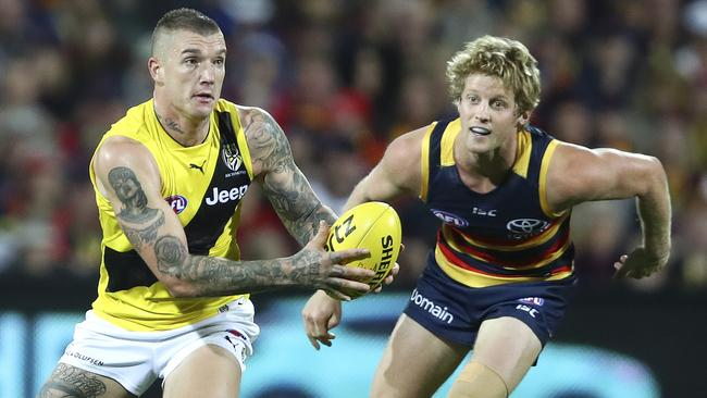 Dustin Martin in Richmond alternate guernsey against Adelaide. Picture: Sarah Reed