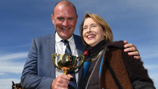 Anthony Mithen and Gai Waterhouse were all smiles after Runaway's win in the Geelong Cup. Picture: AAP