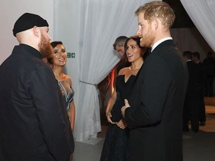 Tom Walker meets Prince Harry and Meghan Markle. Picture: Tom Walker/Instagram
