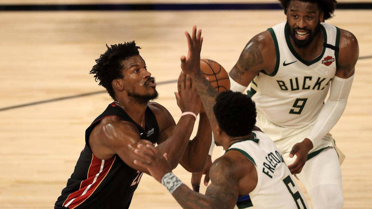 Jimmy Butler had some important touches. Mike Ehrmann/Getty Images/AFP