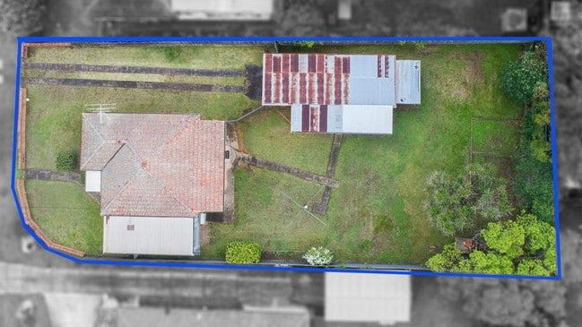 An aerial view of the 833sqm block.