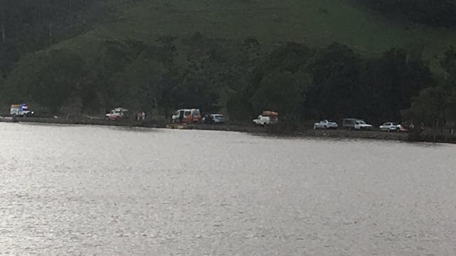 A child has been pulled from a submerged car after it came off a road at Tumbulgum, landing in the Tweed River. Picture: Twitter