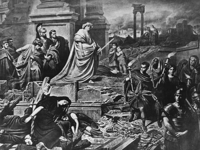 Emperor Nero looks over the wreckage of Rome after the great fire of 64AD. He reigned during the embryonic years of the Christian religion.