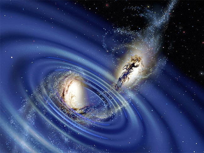 Ripples in space-time. Einstein predicted that the interaction between massive stellar objects would send out gravitational waves. Source: Supplied