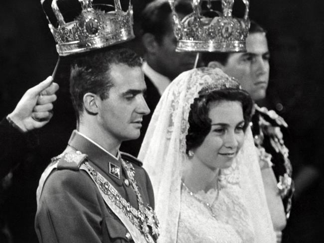 Prince Juan Carlos of Spain and his wife princess Sophia of Greece are pictured in Athens during their wedding in 1962. Picture: AFP