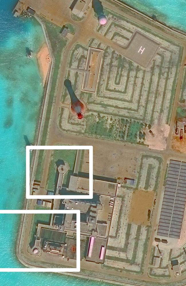 Images of anti-aircraft and anti missile systems on artificial islands built by China in the South China Sea in late 2016. Picture: AP