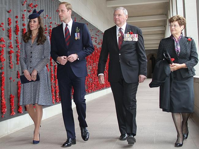 Lest we forget ... the Royal couple with the Chairman of the Australian War Memorial Rear Admiral Ken Doolan AO RAN (Ret'd) and his wife, Elaine at the Commemorative Area including the Hall of Memory where they walked along the cloisters at the heart of the Memorial which contain the Roll of Honour. Picture: Gary Ramage