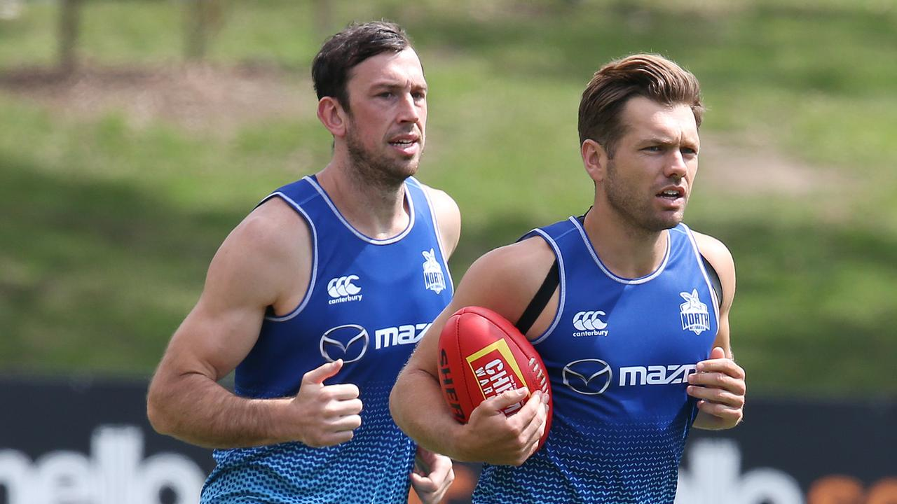 Kangaroos duo Shaun Higgins and Todd Goldstein have been linked to Geelong. Picture: Michael Klein