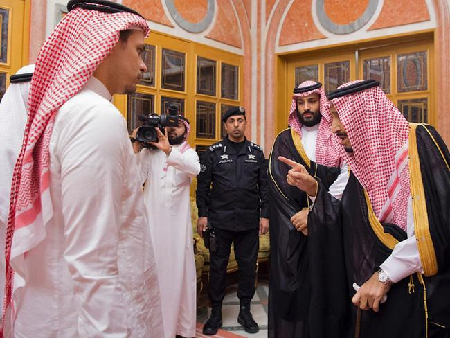 The Crown Prince and Saudi King Salman invited Salah and Khashoggi's brother Sahel to the royal palace to offer their condolences to the family. Picture: SPA / AFP