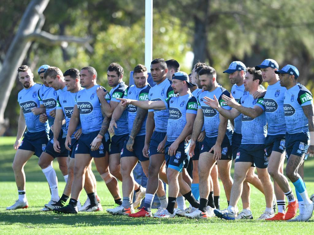 The New South Wales Blues State of Origin team is seen during a training session at the Hale School in Perth, Wednesday, June 19, 2019. New South Wales are playing Queensland in the 2nd State of Origin match in Perth on Sunday. (AAP Image/Darren England) NO ARCHIVING