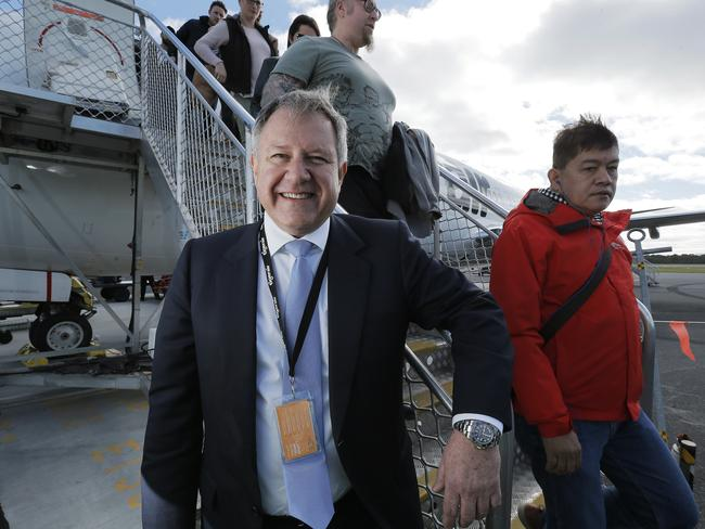 Tigerair Australia acting chief executive Peter Wilson at the announcement of the airline's direct flight route between Hobart and the Gold Coast. Picture: MATHEW FARRELL
