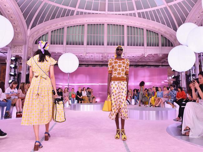 Models walk the runway during the Kate Spade New York Fashion Show. Picture: AFP
