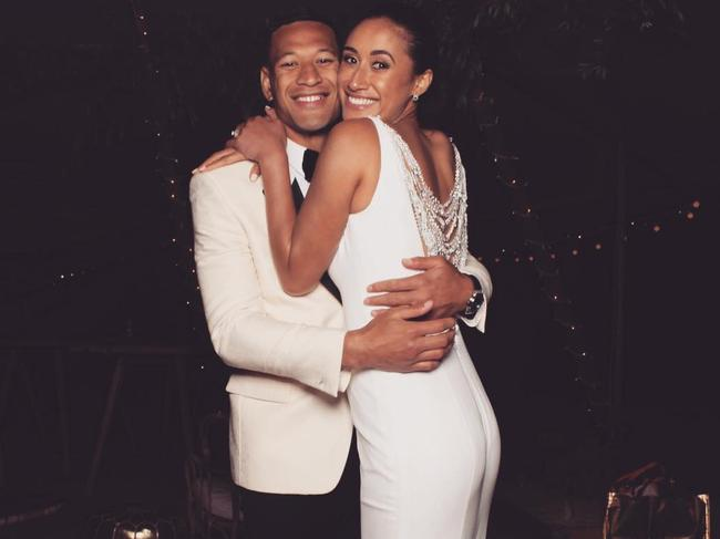 Israel Folau and his wife Maria.