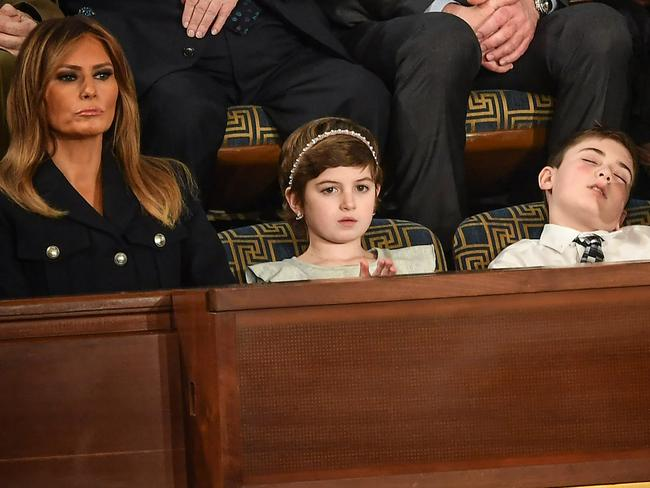 US First lady Melania Trump and Joshua Trump (right), at the State of the Union address at the US Capitol on February 5. Picture: Mandel Ngan/AFP