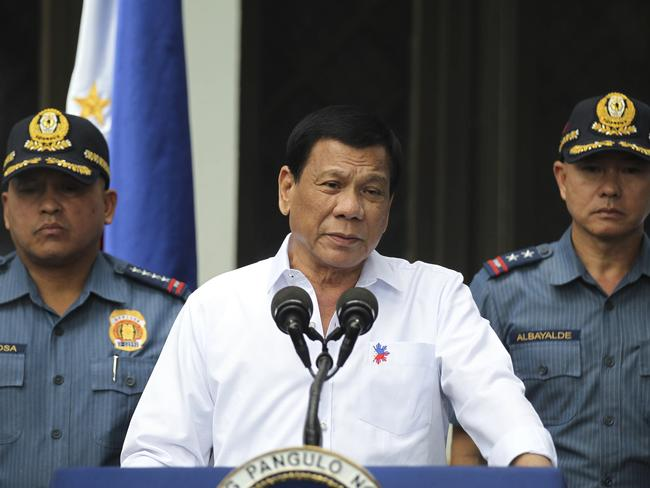 Philippine President Rodrigo Duterte promised to kill 100,000 drug dealers when he rose to power last May Picture: Simeon Celi Jr./Presidential Photographers Division, Malacanang Palace/AP