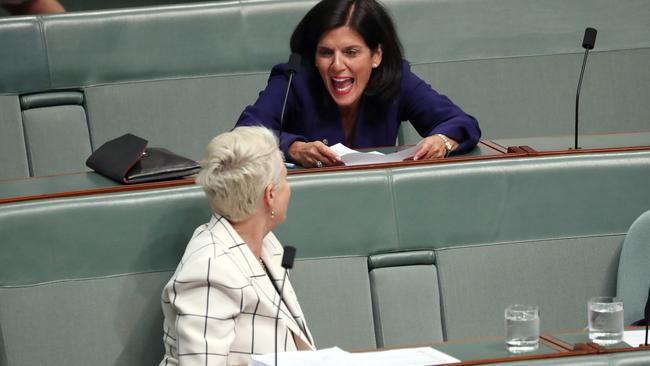 Sharing a laugh with Kerryn Phelps. Picture: Gary Ramage