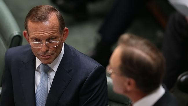 Price on pollution ... Prime Minister Tony Abbott and Environment Minister Greg Hunt during Question Time in Canberra.