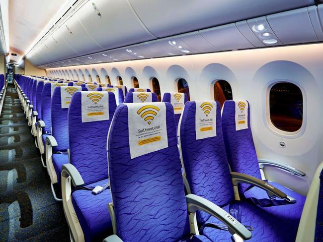 The standard economy class cabin.
