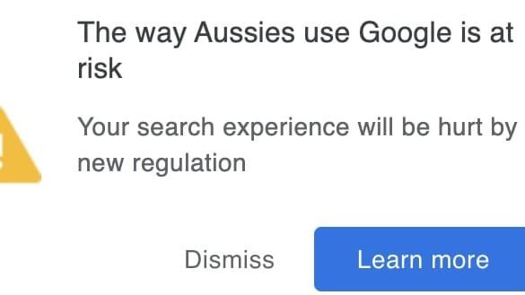 Google's pop-up warning about the mandatory code. Source: The Australian