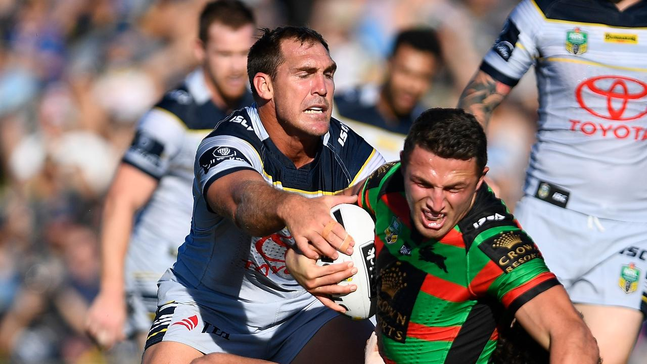 Sam Burgess in action against the Cowboys.