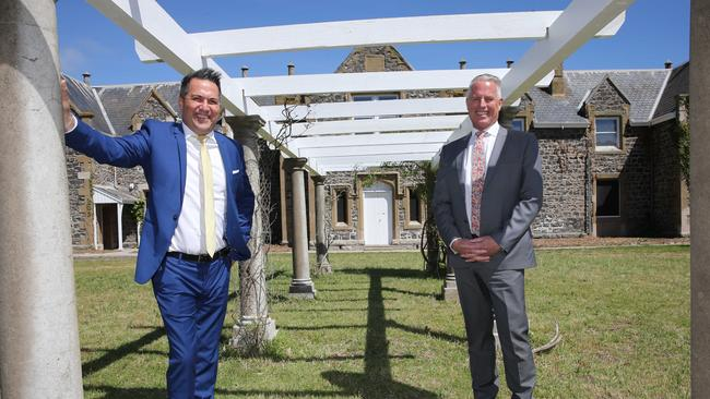 Real estate agents Peter Fort and Dale Whitford at the old Fyansford orphanage and common school. Picture: Peter Ristevski