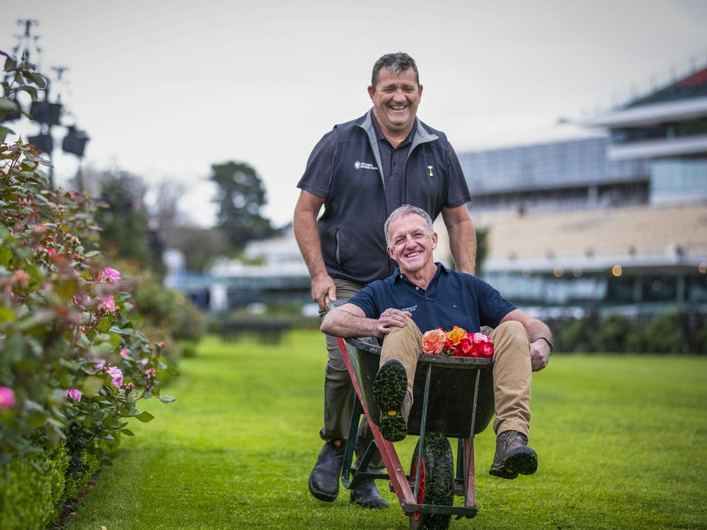 Flemington's head gardener Terry Freeman (right) is handing over the rose-tending reins to long-time deputy Mick Ryan. Picture: Nicole Cleary