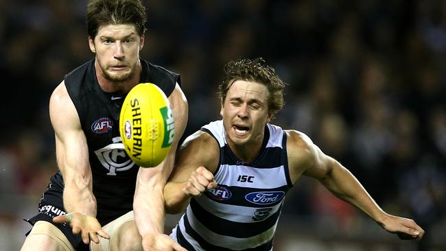 Carlton defender Same Rowe marks in front of Geelong midfielder Mitch Duncan. Picture: Wayne Ludbey.