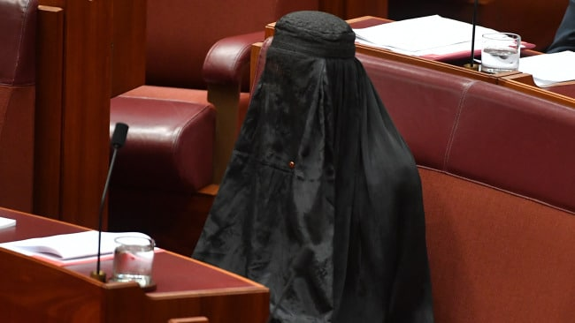 Let's not forget Pauline Hanson wore an Islamic veil in the Senate chamber at Parliament House in Canberra August 2017. Image: AAP Image/Mick Tsikas
