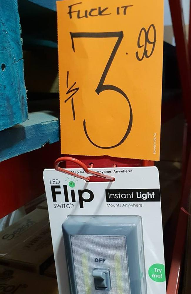 Bunnings LED light switch sign goes viral over accidental X