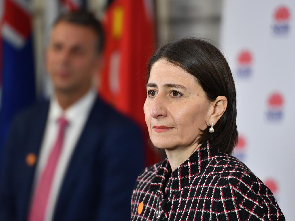 NSW Premier Gladys Berejiklian and Minister for Transport Andrew Constance brief the media on the COVID-19 pandemic and easing of restrictions. Picture: AAP