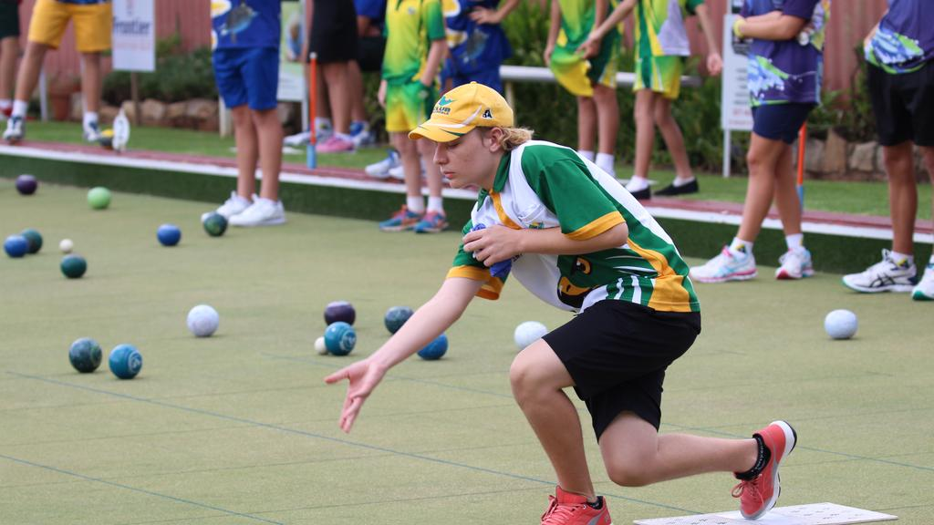 Helensvale's Corey Marshall in action at the Junior State Titles. Bowls QLD