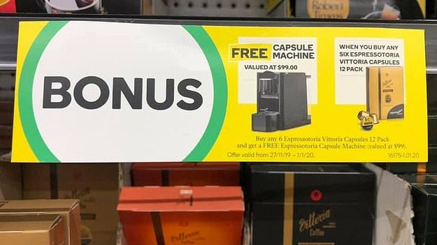 Woolworths is offering its customers a free coffee machine valued at $99. Picture: Facebook