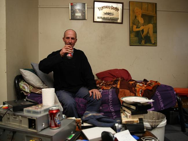 Colin Peckham, 51, in his Miller bedsit, hasn't worked since 2012 because of his back. Picture: Matrix for news.com.au
