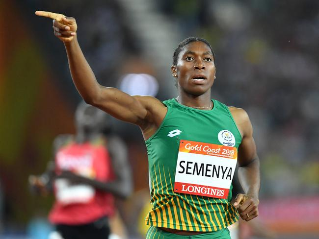 Caster Semenya wins the 800m fgold on the Gold Coast. Picture: AAP
