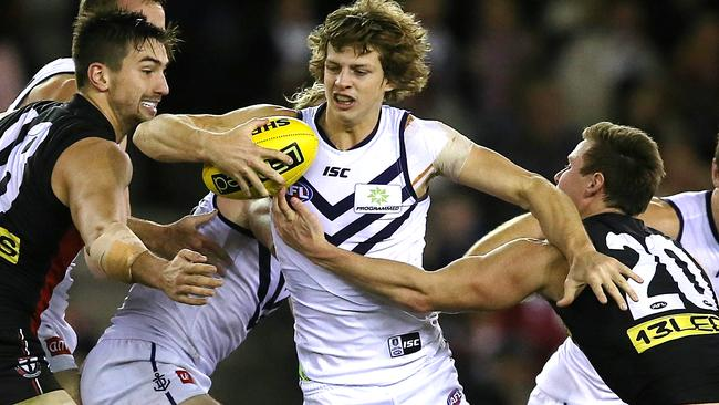 Nat Fyfe breaks through the St Kilda defence. Picture: Wayne Ludbey