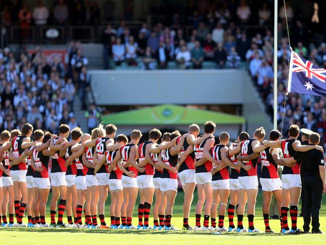 The Anzac Day blockbuster AFL game at the MCG between Collingwood and Essendon.