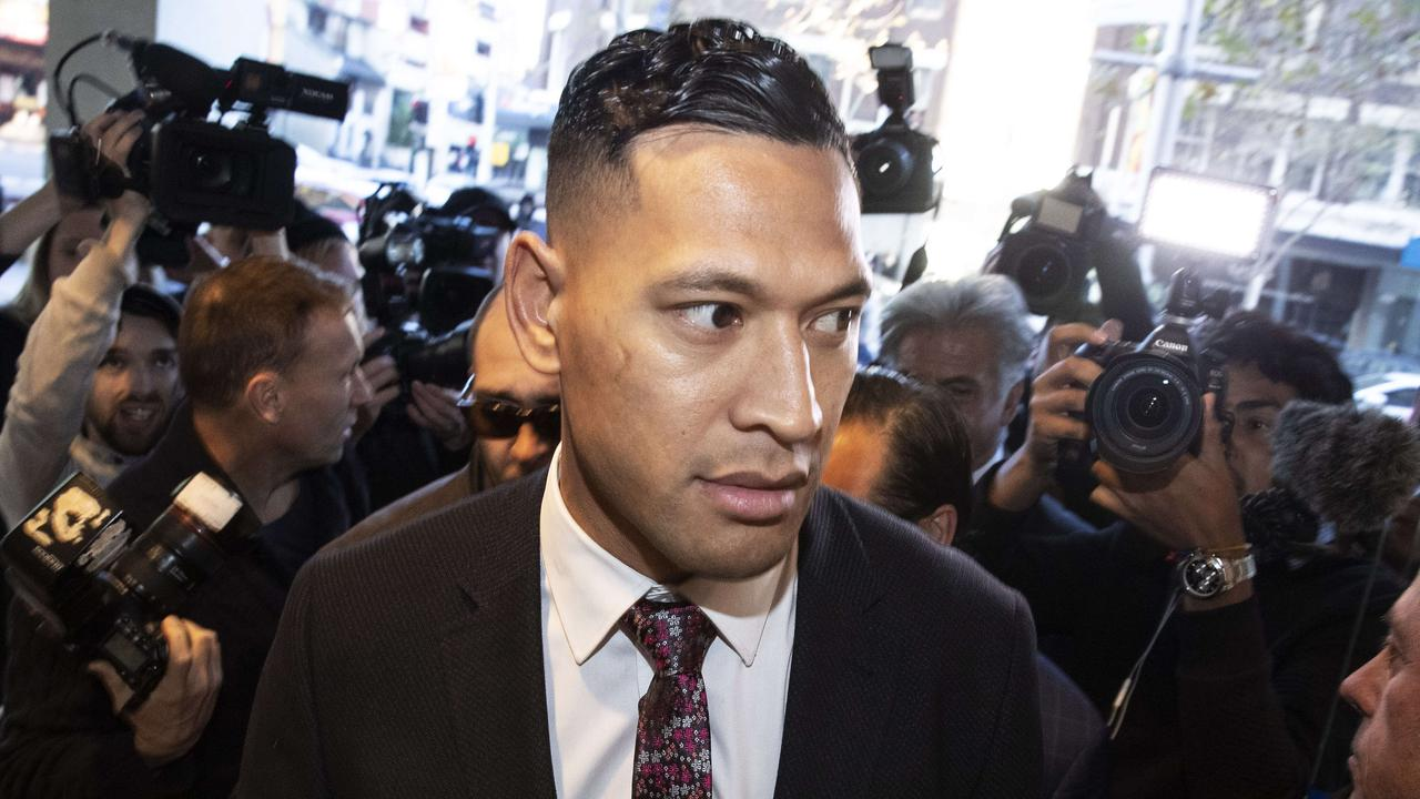 Israel Folau was sacked by Rugby Australia over homophobic comments. John Feder/The Australian.
