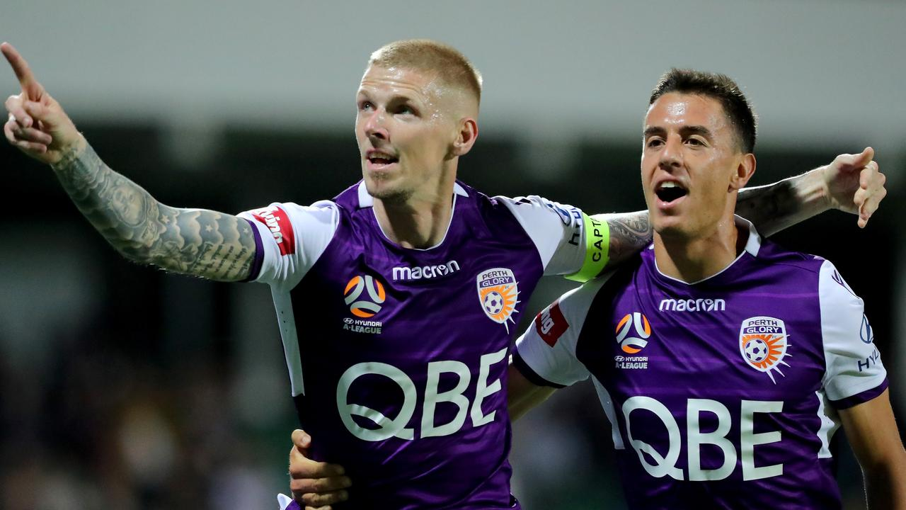 Andy Keogh gave Perth Glory the lead over Brisbane Roar.
