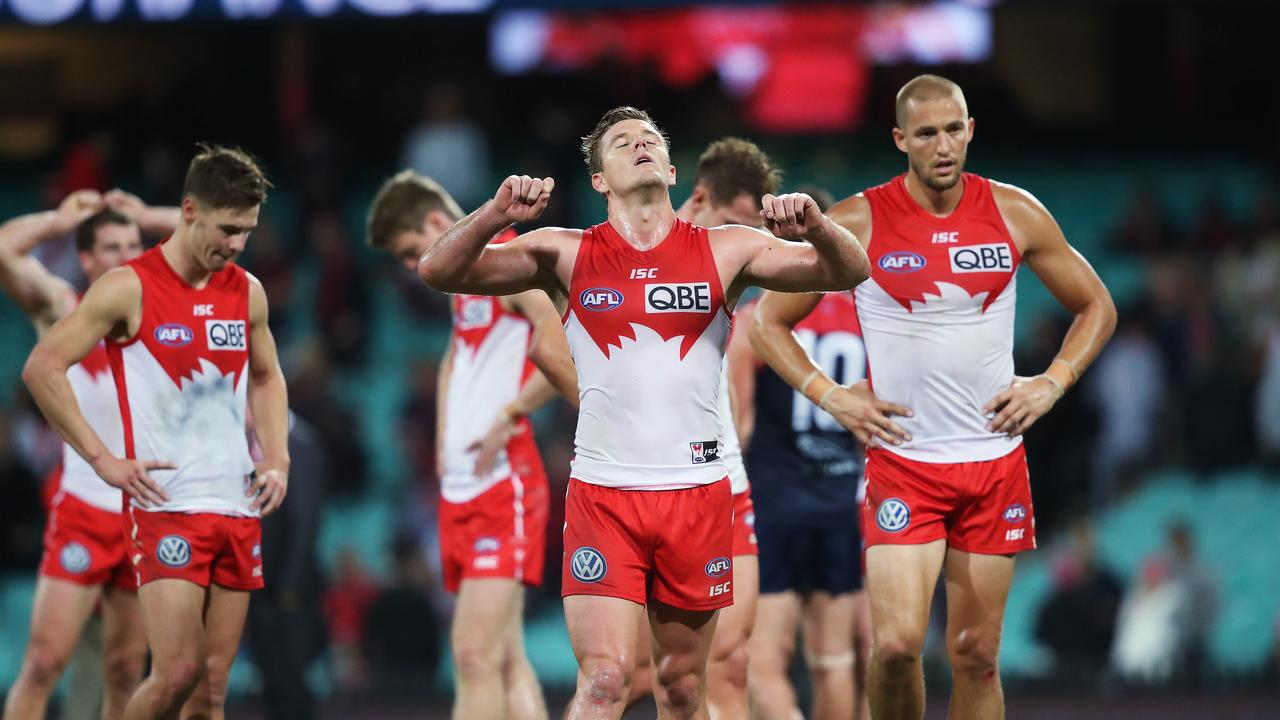 Luke Parker and Sam Reid at full time after the Sydney Swans lost to the Melbourne Demons in their AFL match at the SCG. Picture. Phil Hillyard