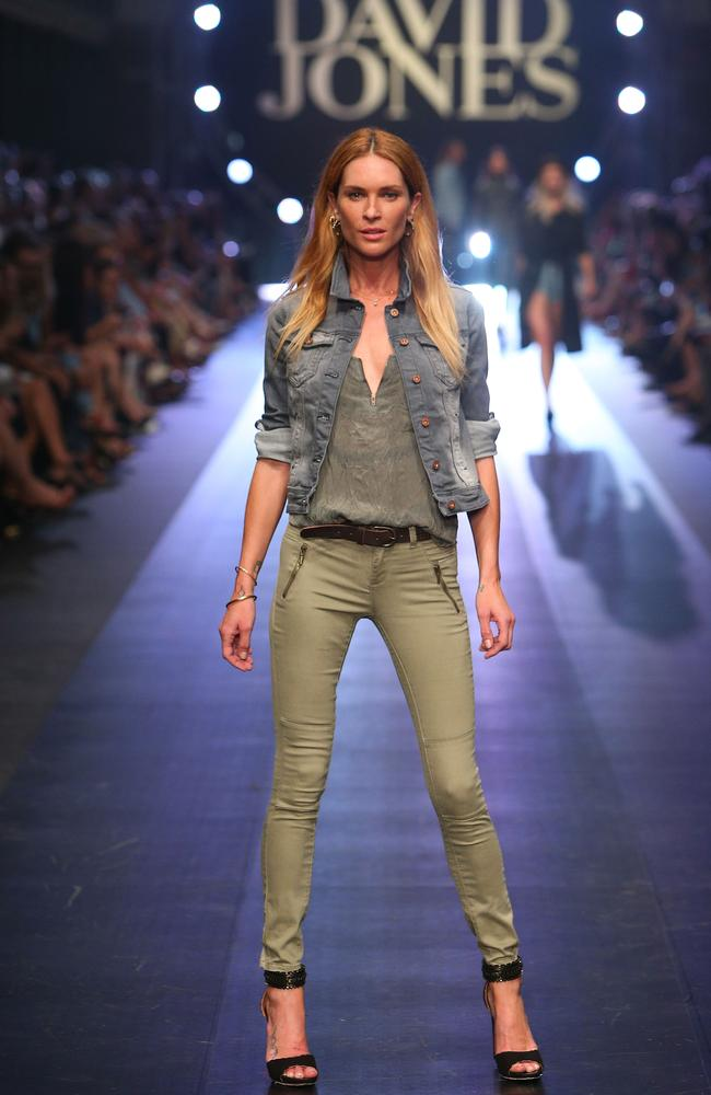 A casual autumn look on Erin Wasson by RE Denim, stocked at DJs. Picture: Getty Images