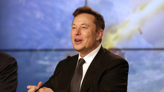 Elon Musk has a plan to send hundreds of satellites into low Earth orbit to deliver internet services. Picture: AP Photo/John Raoux