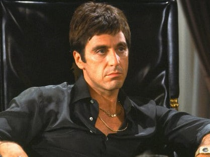 Actor Al Pacino in 1983 film Scarface. Picture: Supplied