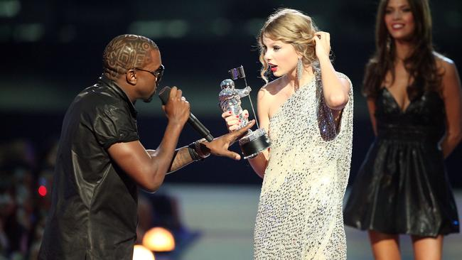 It was an unforgettable moment when Kanye West jumped onstage after Taylor Swift won the 'Best Female Video' award during the 2009 MTV Video Music Award. Picture: Getty Images.