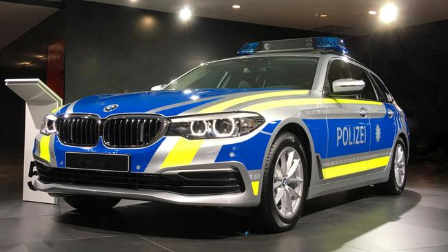 BMW is one of the few manufacturers globally to build specialised vehicles for police, such as this German example at the 2017 Frankfurt Motor Show. Picture: Joshua Dowling