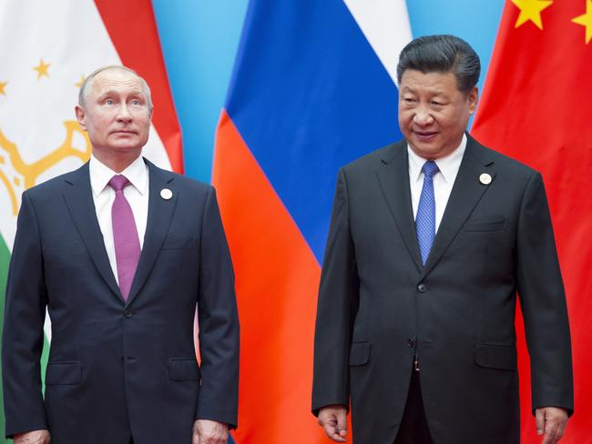 Russian President Vladimir Putin and Chinese President Xi Jinping have praised their relationship and China's involvement in the war games. Picture: Alexander Zemlianichenko