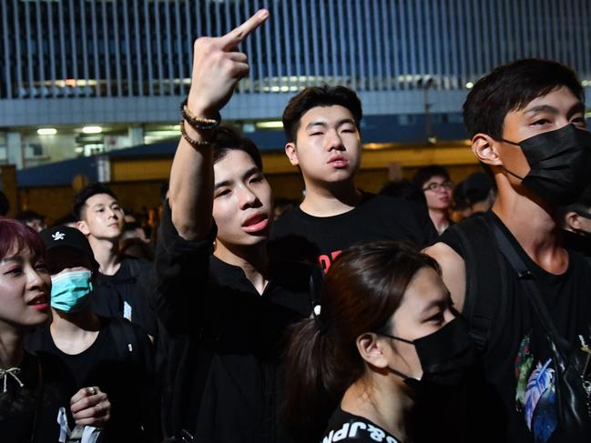The unrest shows little sign of abating as demonstrators surrounded the Legislative Council building to demand the resignation of chief executive Carrie Lam. Picture: Carl Court/Getty Images
