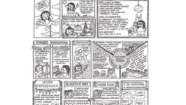 quirky comic book style resume goes viral as graphic