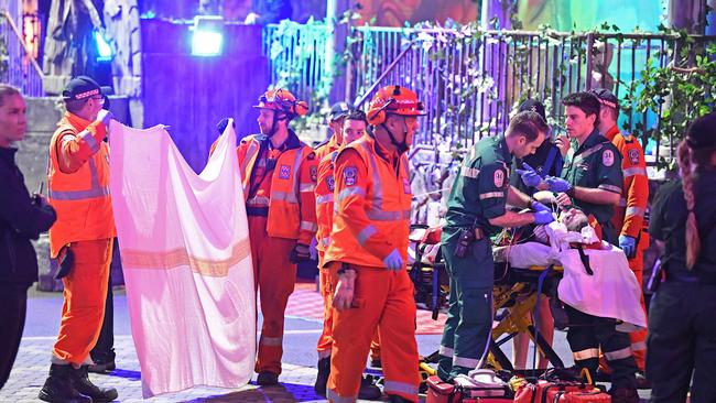 The woman is being treated at the site and is likely to be taken to hospital. Picture: Tom Huntley